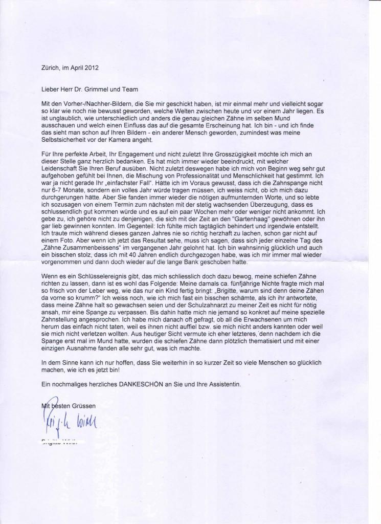 Brief einer Patientin nach einer Zahnkorrektur für Erwachsene